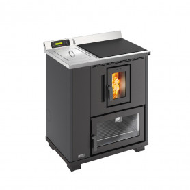 Unical T.it k termocucina a pellet ad aria canalizzabile 8,8 kw piano cottura in ghisa  forno in acciaio nera