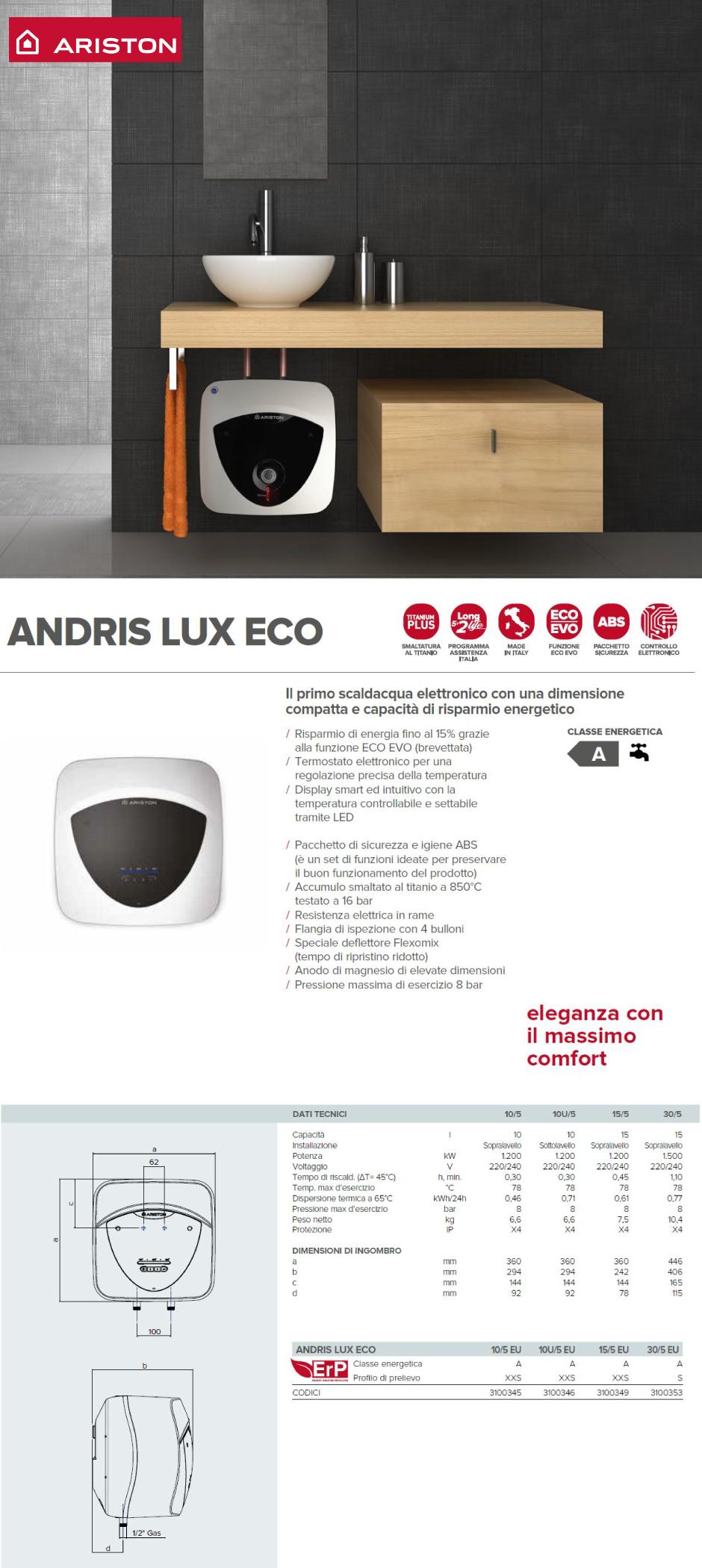 SCALDABAGNO ELETTRICO ARISTON ANDRIS LUX 30//5 EU 30 LT SOPRALAVELLO